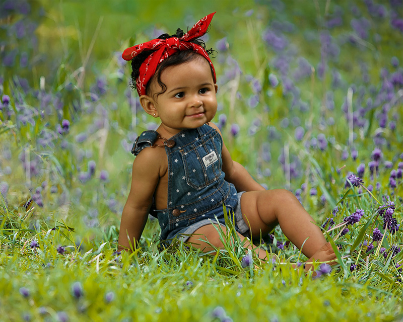 Toddler Girl in Bluebonnet Digital Backdrop